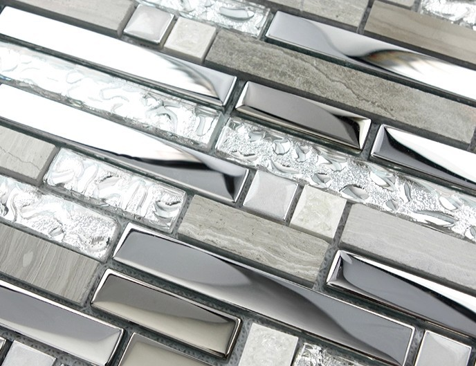 strip gray color metal mixed glass and stone mosaic tile for kitchen backsplash tile bathroom shower mosaic tiles subway mosaic