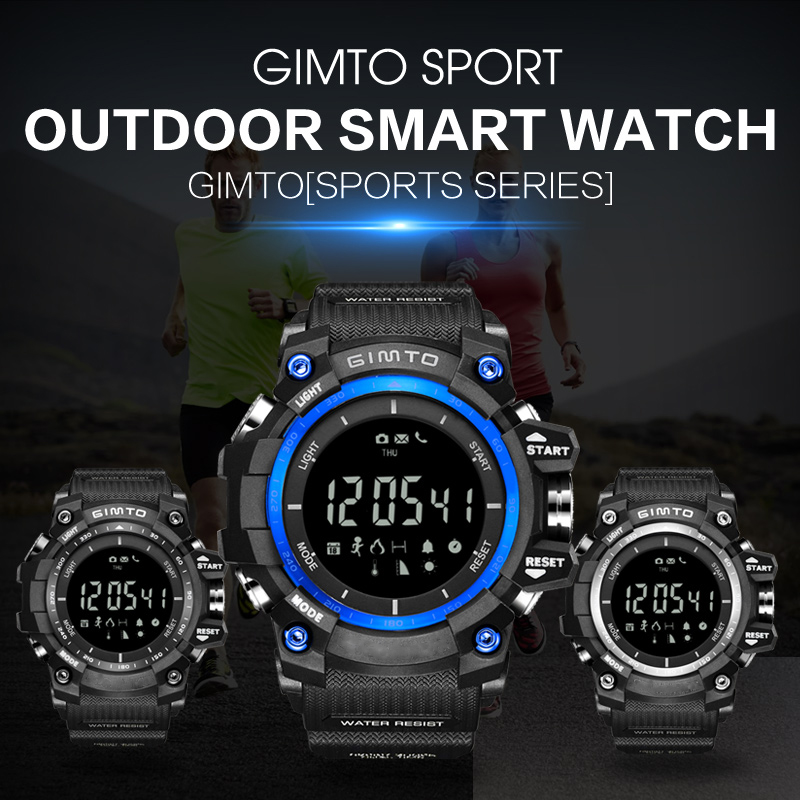 GIMTO Top Brand Military Outdoor Sport Smart Watch Men Waterproof Diving LED Silicone Electronic Bluetooth Barometer Wristwatch military tactical multifunctional waterproof shockproof watch durable outdoor climbing running men wristwatch stopwatch