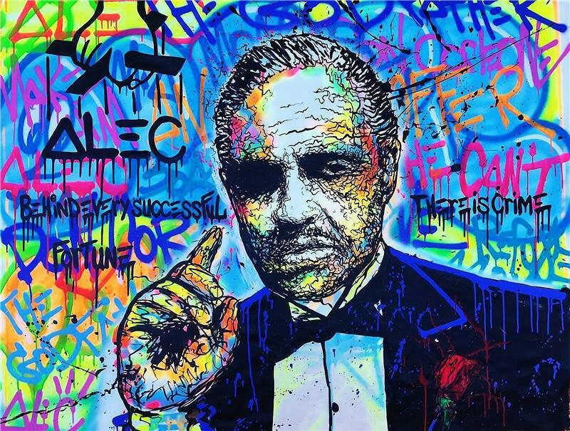 Monopole peinture à l'huile sur toile Graffiti décor mural le parrain 24x36