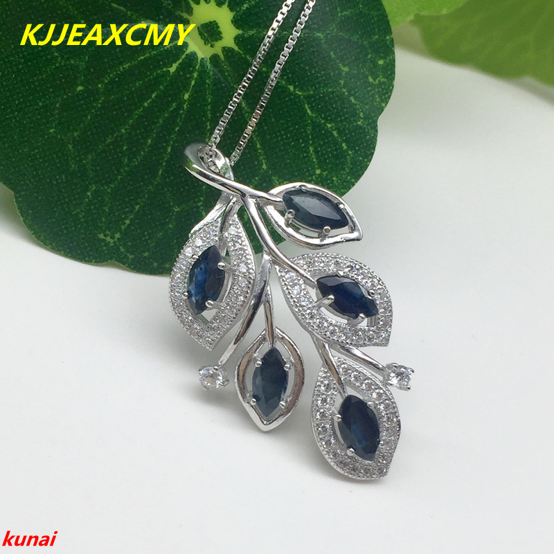 boutique jewels 925 silver inlaid with natural leaves, sapphire female Pendant (necklace)