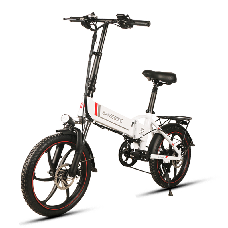 "SAMEBIKE 20"" Aluminum Alloy Foldable Electric Bicycle 48V 8Ah Intelligent LCD Display Remote Control Anti-theft Alarm Bike USA"