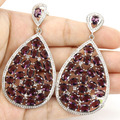 Long Big Drop Amethyst, Cz Created SheCrown Woman's   Silver Earrings Gift 67x35mm