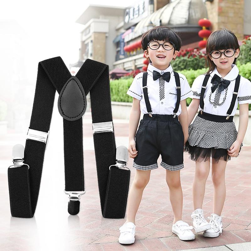 1PCS Suspenders Childrens Boys girls Suspender Set Elastic Adjustable Y-Back Braces Kids Wedding Stage Performance