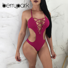 BerryPark 2019 High Cut One Piece Women Swimwear Deep V-Neck Lace Up Bandage Bodysuit Swimsuit Hollow Out Bathing Suit Swim Wear
