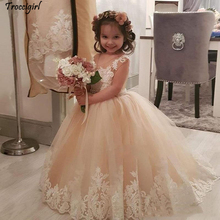 Lovely Champagne Flower Girl Dresses V-Neck Sleeveless Tutu Tulle Little Girls Dress For Wedding With Lace Applique Peplum Party cute lovely champagne lace flower girl dresses with pink sash appliqued ball gown party wedding girls dress with train