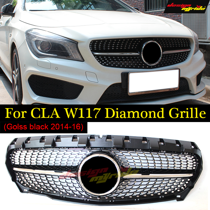 Fits For MercedesMB W117 Front Diamond grille ABS Black CLA-Class CLA180 CLA200 CLA250 Sports Front Grills Without sign 2014-16 image