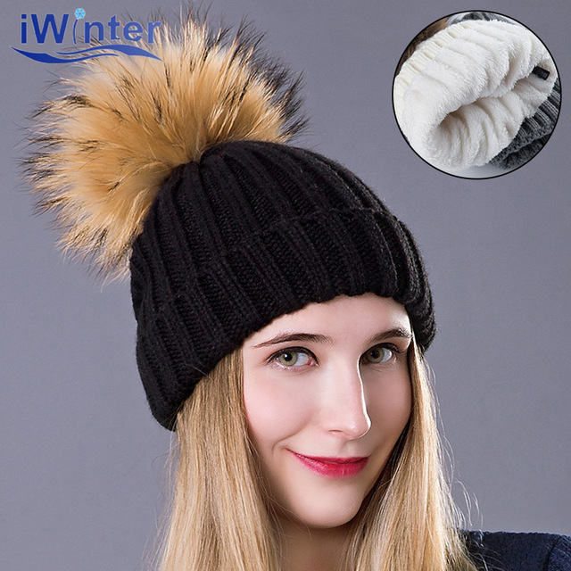 89d28f0b959 IWINTER Fox Fur Ball Cap Winter Hat For Women Girl  s Hat Knitting  Thickening Beanies Pom Pom Hat Female Cap Retail Wholesale