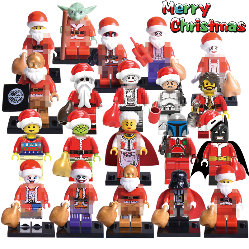 Building Blocks Christmas Boy Joker Wiley Jango Fett Jack Old Granny Yoda Harley Quinn Darth Vader Figures Kids DIY Toys X0154