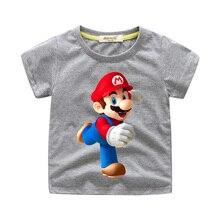 49b5357c4 Los niños de dibujos animados Super Mario patrón Camisetas Camiseta de niño  niñas camiseta ropa de verano de los niños T camisa .