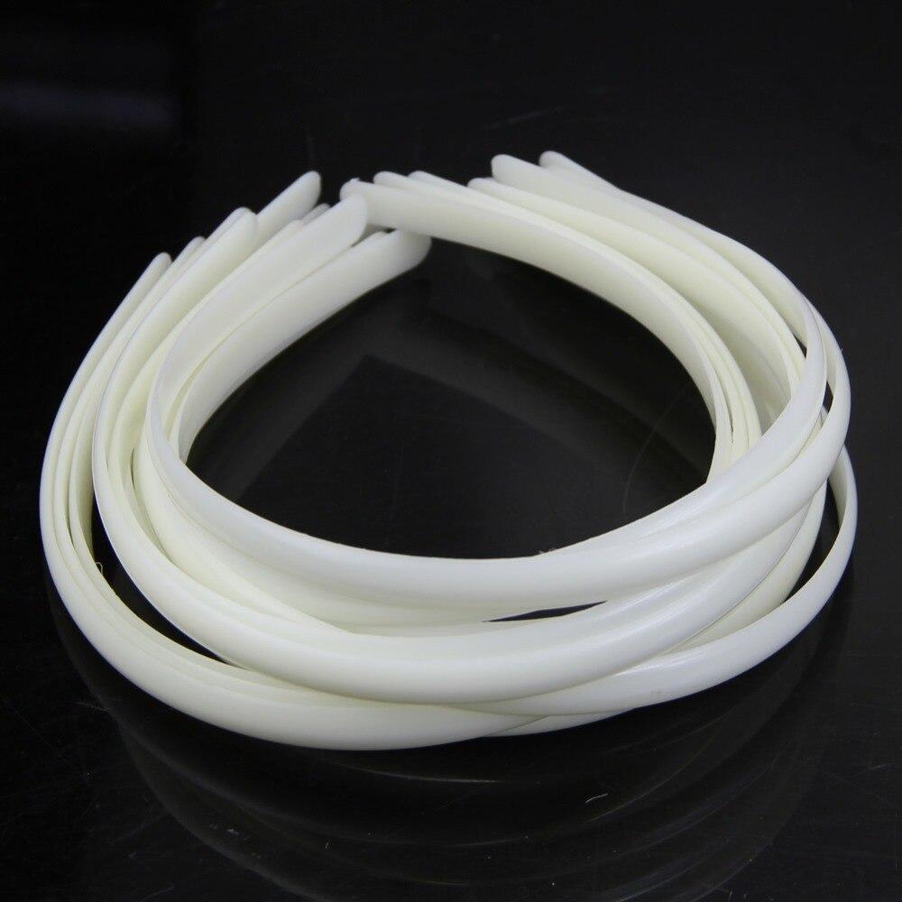 12 шт. белый Модные женские пластиковый ободок для волос повязка на голову без зубов волос DIY инструмента F05