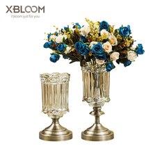 Luxury crystal kaleidoscope glass vase flower pot model room decoration TV cabinet restaurant glass vase house decoration carved