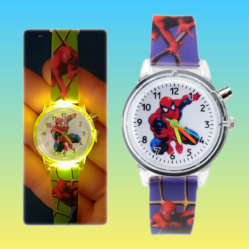 Flashing Light Luminous Spiderman Watch Children Sports Boys Watches For Kids Girls Baby Gift Students Clock Quartz Wristwatches
