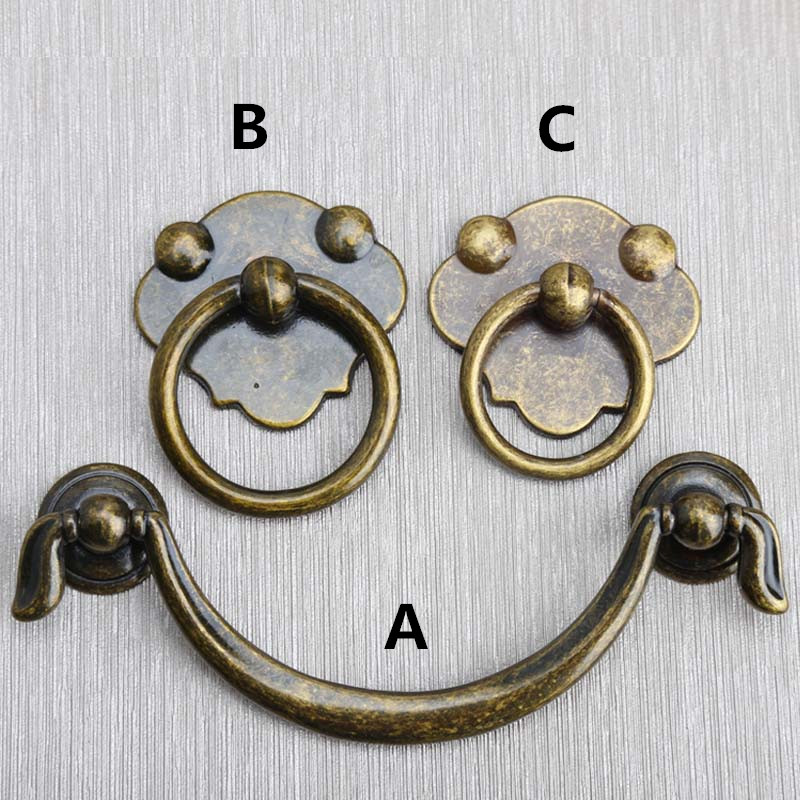 Bronze dresser handles pulls knobs antique drawer cabinet knobs pull 96mm europen retro style drop rings furniture knobs handles