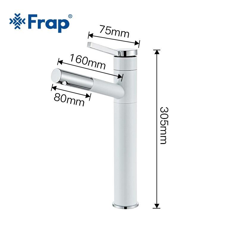 Robinet de lavabo FRAP retirer le robinet d'évier de salle de bains robinet de cascade à poignée unique robinet d'eau froide et chaude - 5