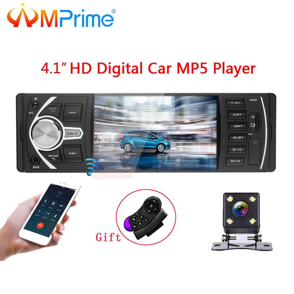 AMPrime Car radio 1Din MP3 player Car Radio Audio Stereo USB AUX FM Radio Station Bluetooth With Rearview Camera Remote Control fm stereo radio multimedia speaker classical handmade bamboo radio station mucis player portable radio fm remote control y4113o