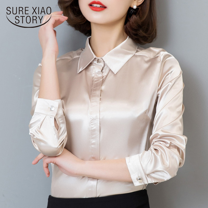 Fashion woman   blouses   2018 Hot Sale Female Casual chiffon   Blouse     shirt   Slim Women tops Silk   Shirt   Plus Size Plus Size 103B 25