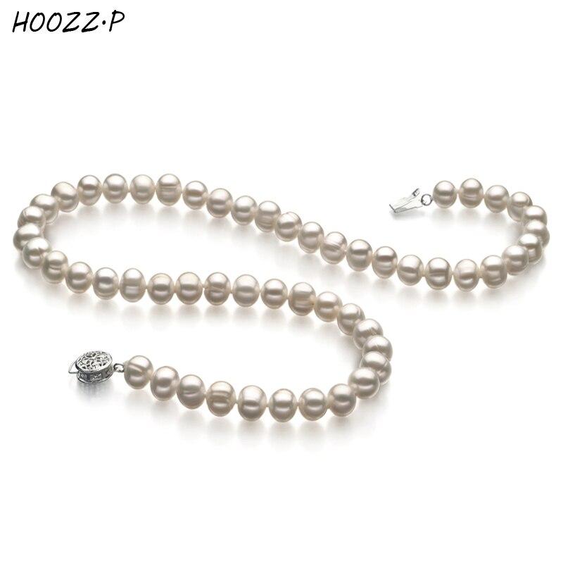 HOOZZ. P collier de perles de culture d'eau douce blanc noir rose trié sur le volet femmes collier pour anniversaire fiançailles mariage