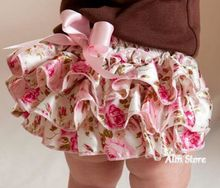 Floral Newborn Baby Bloomers,Damask Toddler Ruffled Nappy Panties with Bow,Infant Girl Diaper Covers Tutu Shorts,#P0001