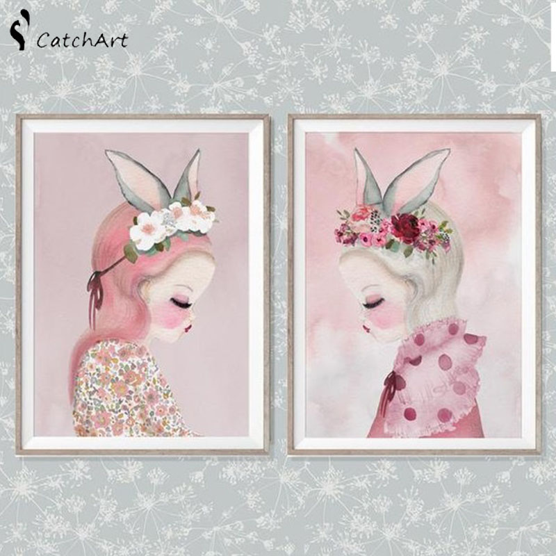 Nordic Pink Cartoon Watercolor Flower Girl Rabbit Elf Animal Unicorn Swan Poster Canvas Painting Wall Picture Kids Room Decor in Painting Calligraphy from Home Garden