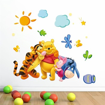 friends with winnie pooh wall stickers for kids room-Free Shipping 3D Wall Stickers Clock Wall Stickers elephant wall stickers For Kids Rooms mirror wall stickers Star Wars WallPapers tree wall decal