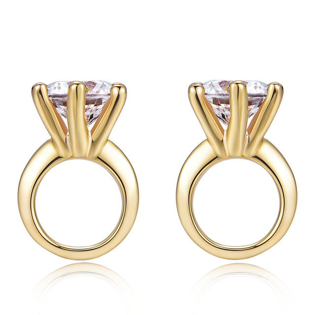 925 Sterling Silver Simulated Diamond Yellow Gold Plated Earrings for Women 1 Carat