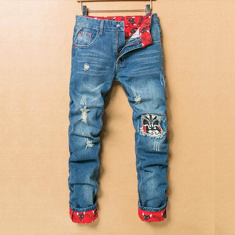 2019 Vintage Distressed Ripped Jeans Men Straight Slim Denim Trousers, Light Blue Cuffs Retro Casual Biker Printed Jeans Homme