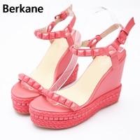 Roman Sandals Summer High Heels Shoes Rivet Peep Toe Platform Wedges Sandals Women Small Size 33