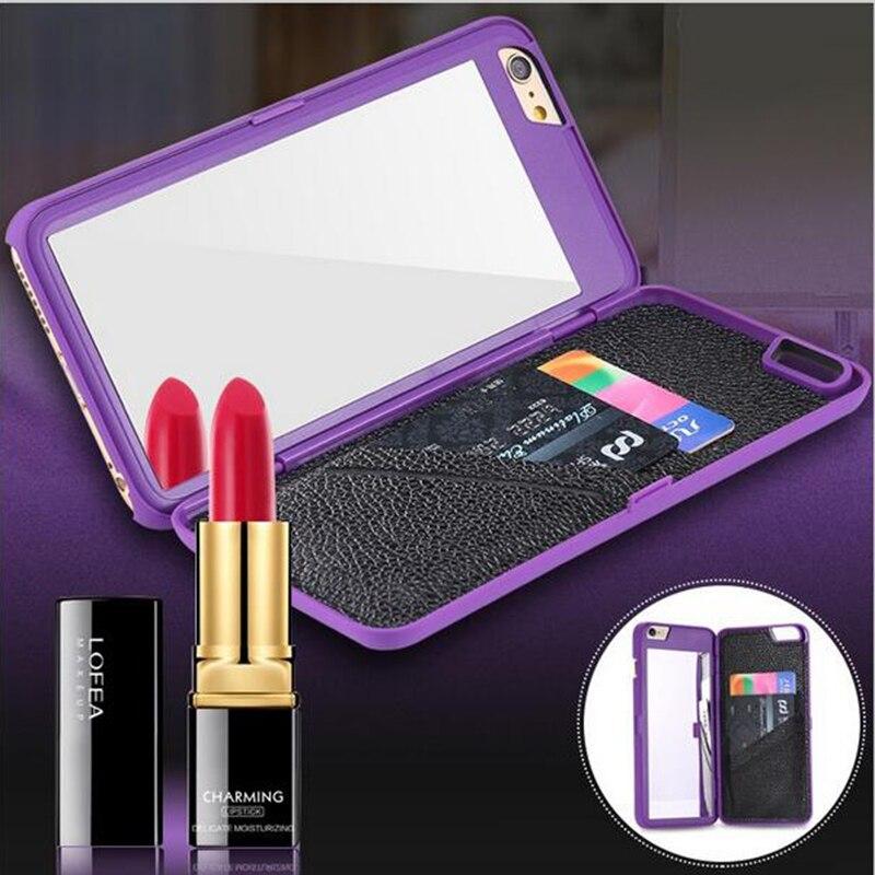 Цена за Леди зеркало для макияжа телефон case тонкий 3d флип кожаный dual layer жесткий назад слот для карты wallet чехол для iphone 7 6 s plus se 5S 10 шт.