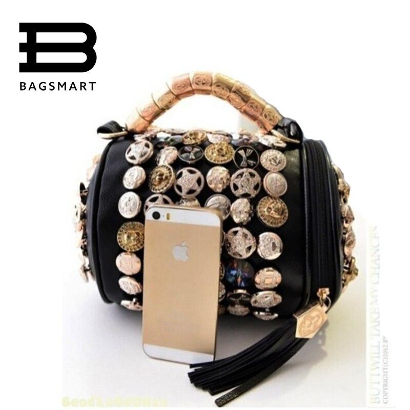 BAGSMART  Bottons Diamonds Bags Women Leather Handbags Classical Crossbody Bag W