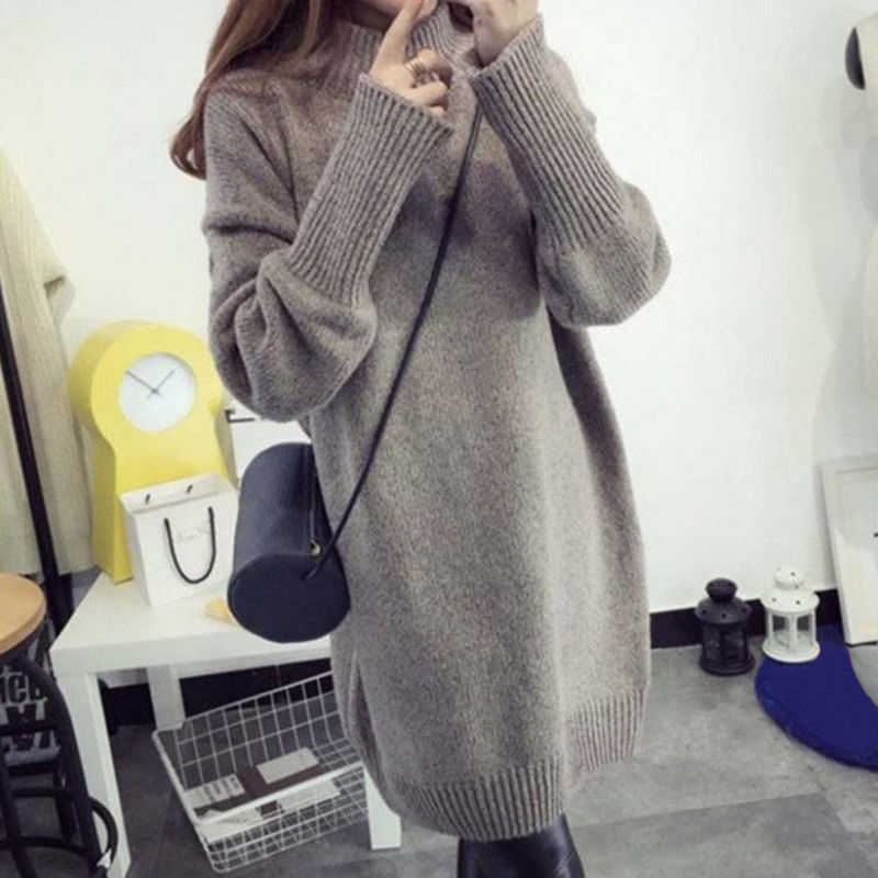 Women Autumn Winter Turtleneck Casual Loose Long Knit Pullover Sweater Dresses Solid Slim Plus Size Long Pullovers Sweater
