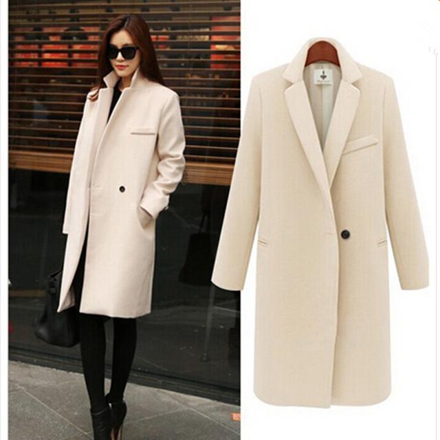 2015 moda elegante mujeres abrigo largo invierno de un solo botón abrigo de lana delgada Cashmere abrigo Beige rosa negro para mujer abrigos de corea