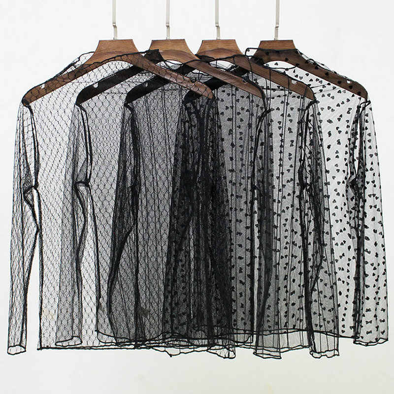 2020 Vrouwen Zomer Hollow Out Mesh Gaas Voile Tulle Basic Shirt Vintage Borduurwerk Ster Sneeuw Polka Dot Elastische Kant Blouse tops