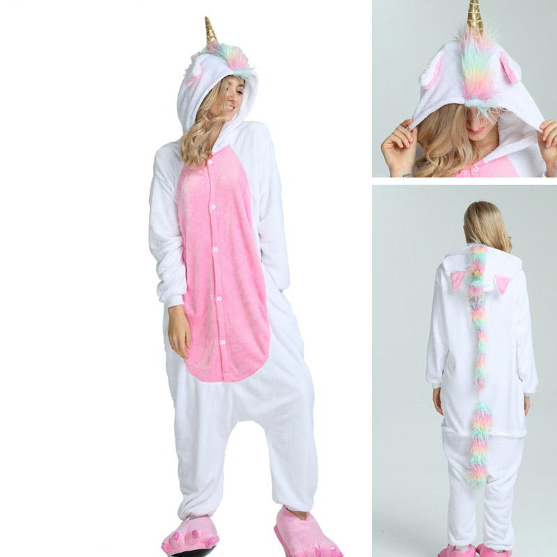 Winter pink unicorn   Pajama     Sets   Cartoon Sleepwear Women   Pajama   Flannel Animal Stitch Panda Unicorn Tigger   Pajama   kigurumi