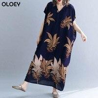 New Arrival 2019 Summer Korean Women Clothes Plus Size Plant Print Beach Dress Female Vintage Cotton Elegant Robe Dresses 5xl 6x