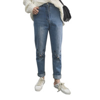 2017 Korean Version Of The Retro High Waist Relaxed Loose Cat Embroidered Jeans Women S Fashion