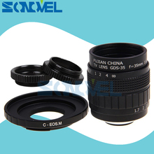 FUJIAN lente de película de TV de 35mm F1.7 CCTV + Soporte C + anillo Macro para cámara sin espejo Canon EOS M M2 M3 M5 M6 M10 M100