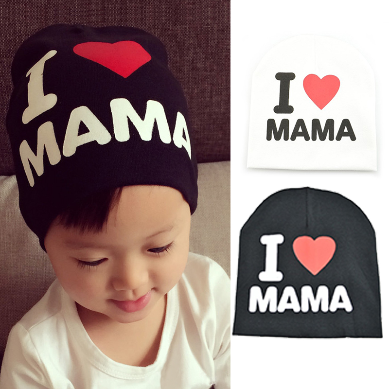 Spring Autumn Baby Knitted Warm Cotton Beanie Hat For Toddler Baby Kids Girl  Boy I LOVE PAPA MAMA Print winter Baby Hats bf32706266de