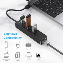 TeckNet Aluminum 3-Port USB 3.0 Hub with RJ45 10/100/1000 Gigabit Ethernet Adapter Converter LAN Wired USB Network Adapter wavlink newest a pair powerline av1200 extender power line ethernet adapter dual band wired access point with gigabit port mimo page 1