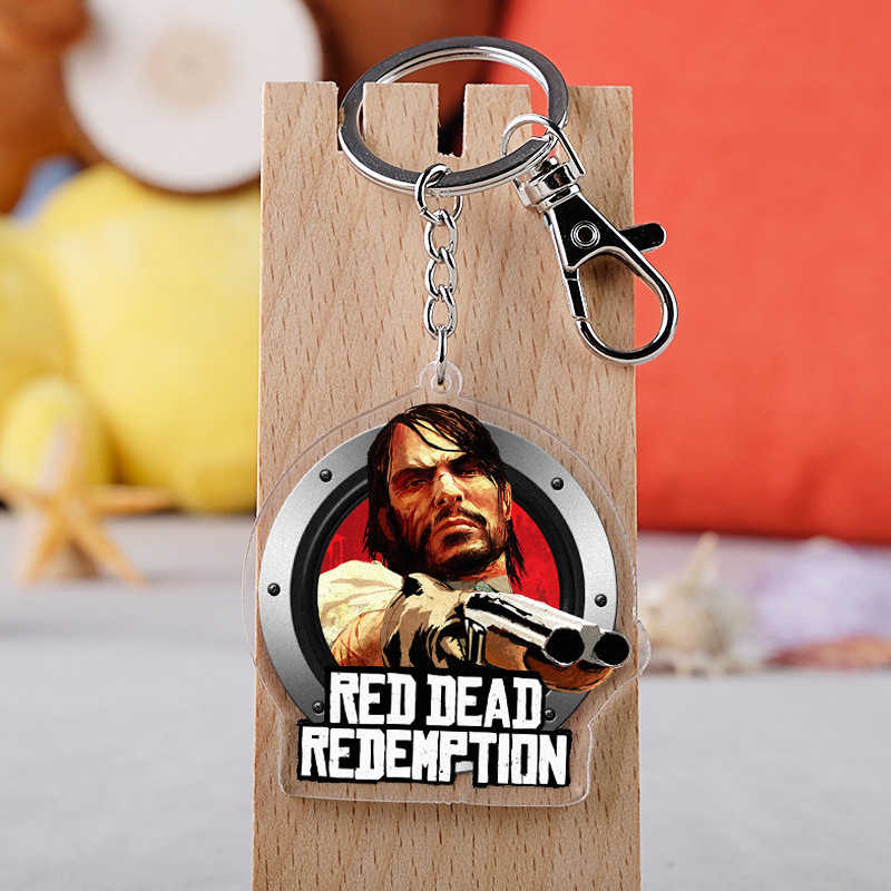 Game Red Dead Redemption 2 Acrylic Keychain Crystal Key Ring Jewelry Souvenir
