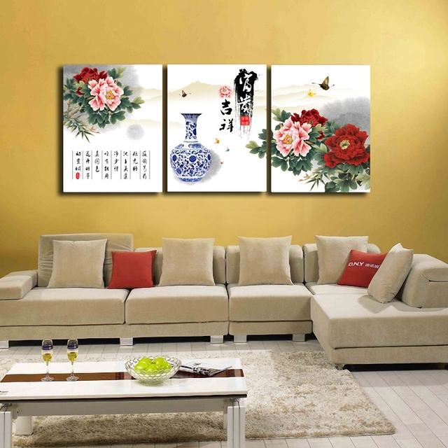 3 Panels Set Chinese Peony Painting Wall Art Oil Painting Picture ...