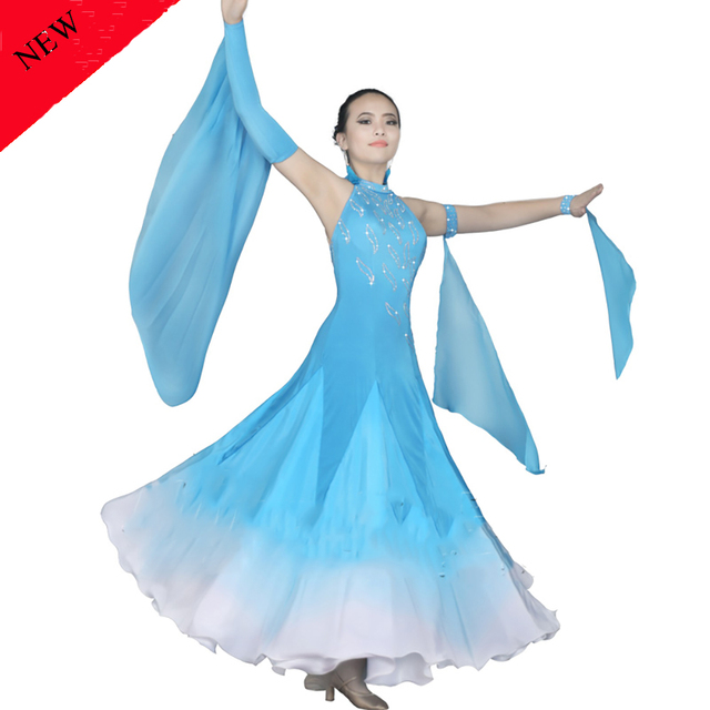 487f3599e Moda modernos vestidos para las señoras Color azul lago tela Rhinestone  mujeres presentación salón de Fitness