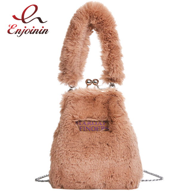 Casual Faux Fur Fashion Shell Shape Girl s Tote Crossbody Mini Messenger  Bag Shoulder Bag For Women 8b97a951e8d08