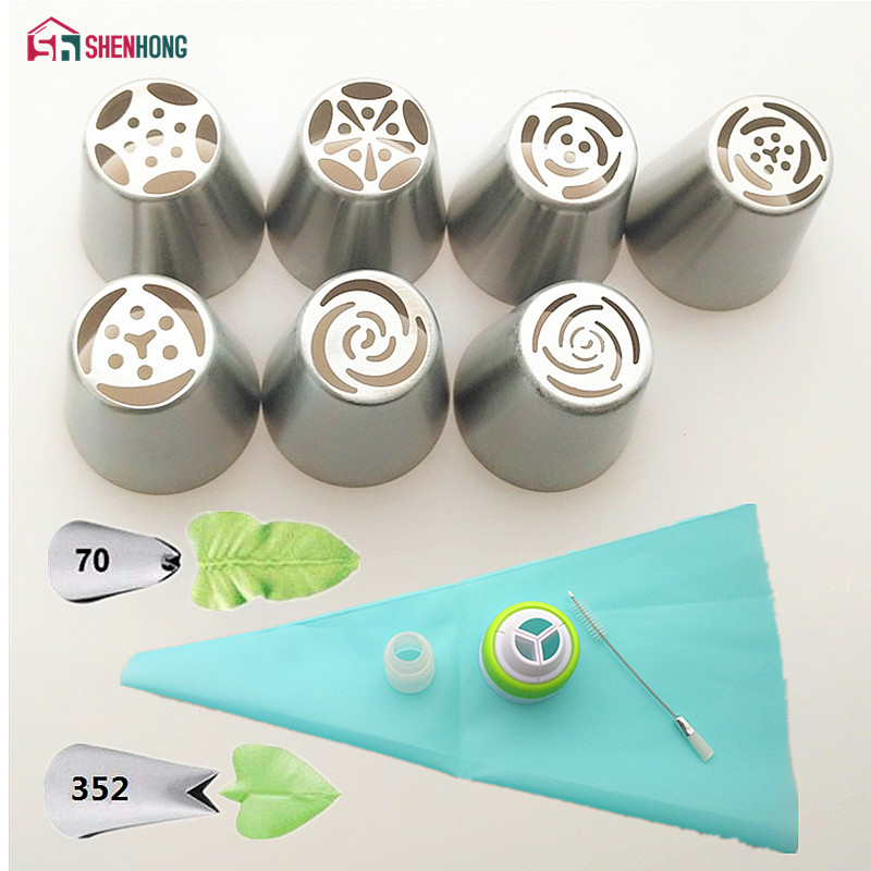 SHENHONG 13PCS Set Russian Icing Piping Tips 1 Pcs Silicone Bag 2 Coupler Leaf Nozzles Brush