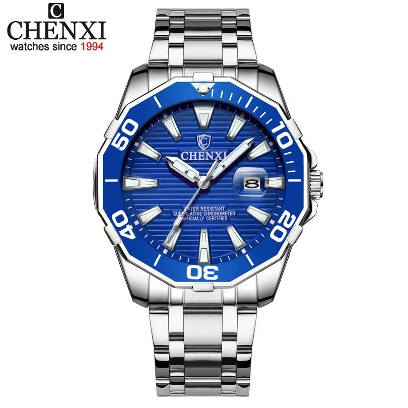 Relojes militares para hombre CHENXI, relojes de cuarzo de lujo para hombre, relojes de pulsera azules para hombre, reloj Masculino, reloj Masculino
