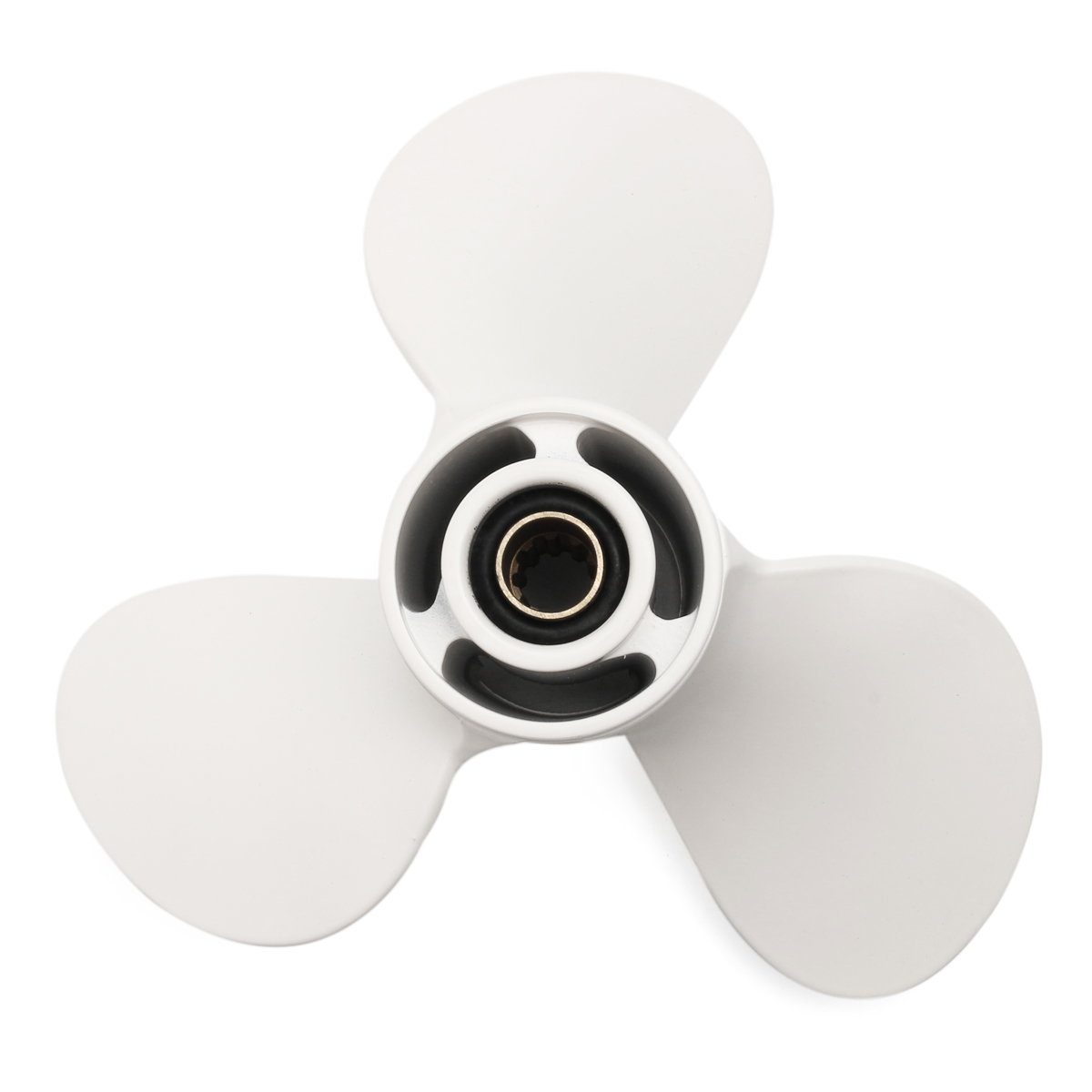 9 7/8X10 1/2-F Boat Outboard Propeller For Yamaha 20-30HP Aluminum 10 Spline Tooths Diameter 72mm White 3 Blades