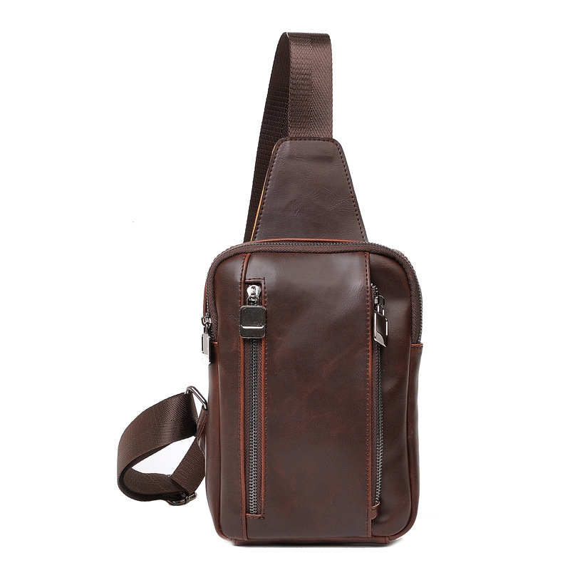 New brand design fashion brown leather men messenger bags casual men's travel bags chest pack vintage shoulder bags bolsos