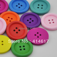 20/40pcs 25mm Colorful Round Wood Buttons 4Holes Sewing Crafts Accessories WB155