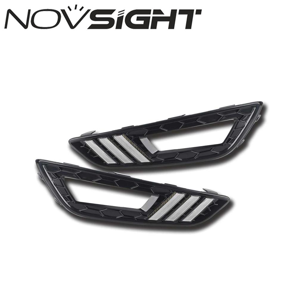 NOVSIGHT DRL Auto Car Led Light 12V Daytime Running Light Fog Lamps Cover Kit For Focus Mustang 2015 2016 2017 Free Shipping