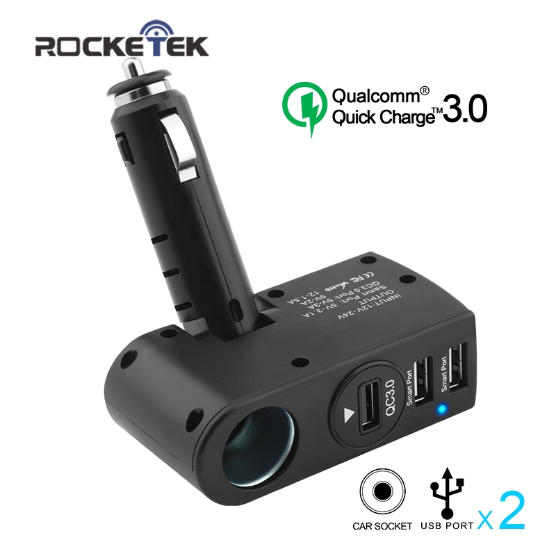 Rocketek multi usb car charger 3A 3 USB fast quick charge QC 3.0 Socket Cigarette Lighter phone adapter accessories car-charger
