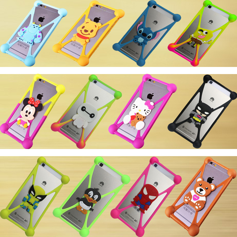 Cute Cartoon Silicone Universal Cell Phone Holster Cases Fundas For Sony Xperia C4 E5303 Case Silicon Coque Cover